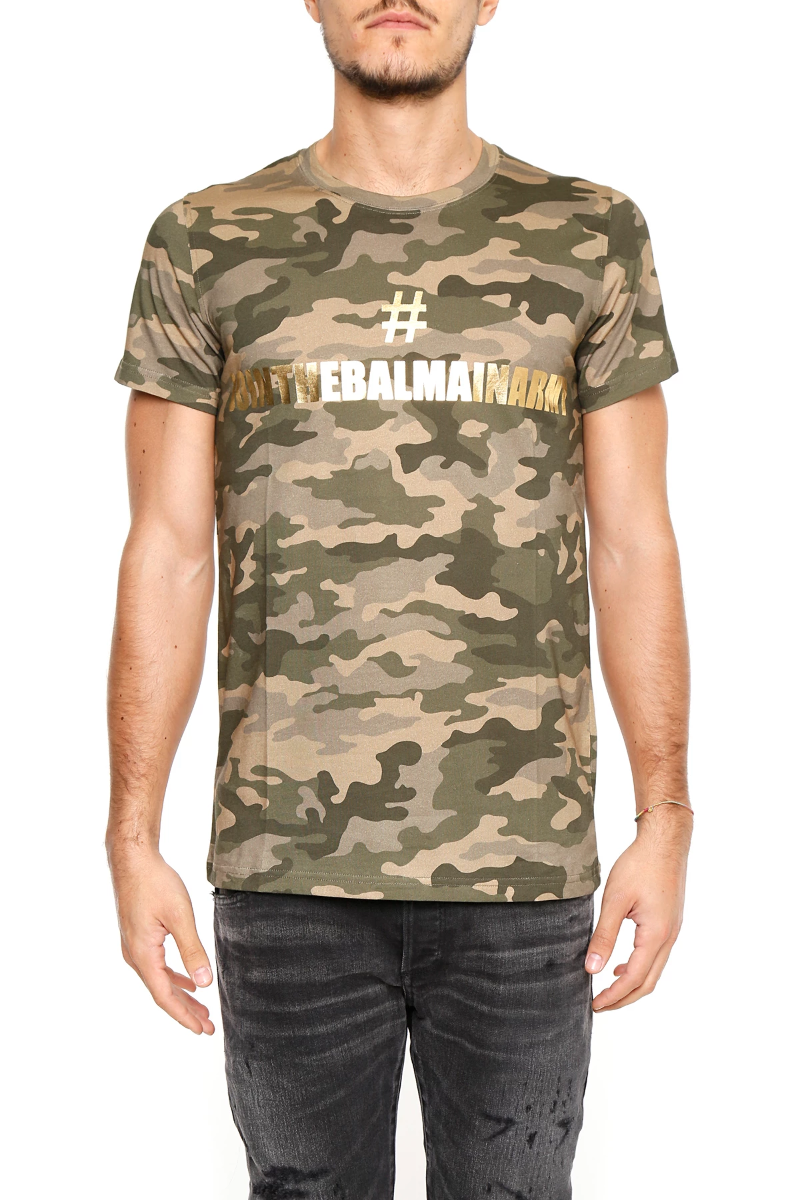 f0f2e9d4 Balmain camouflage cotton t-shirt with print W7H8601I042M Camouflage -  Authentic