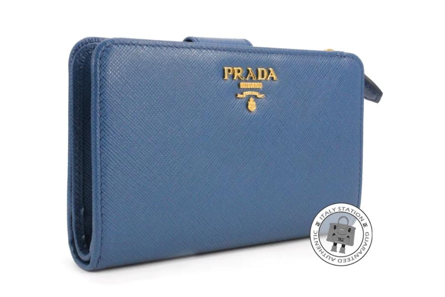 good quality 50% off best price Details about Prada 1ML225 Uzf Saffiano Metal Portafoglio Lampo Cobalto /  F0215 Calfskin Short