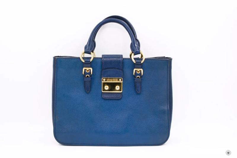 5ec0a989d885 Used Miu Miu Blue Calfskin Tote Bag Ghw - Authentic