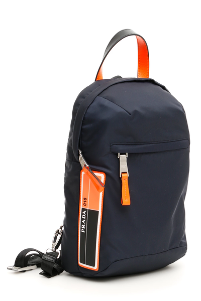56df3e5c1811 Prada one-shoulder backpack 2VZ023 V OOO 2BTE Blu Arancio Fluo ...