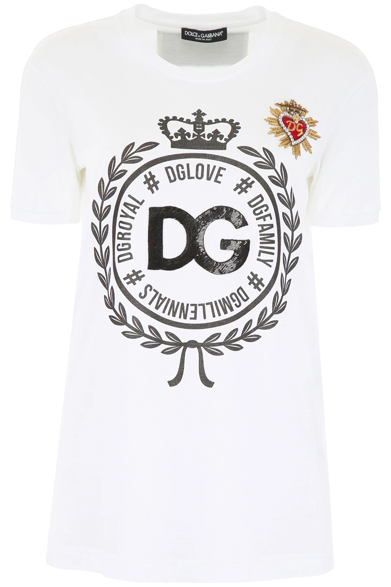 d8c0043c Details about Dolce & gabbana printed t-shirt with embroidery F8K74Z G7QXG  Bianco Ottico - Aut