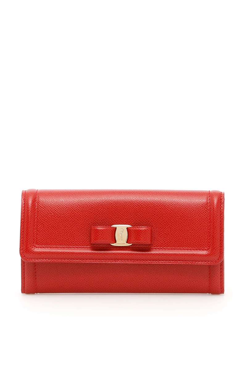 95414b5260 Salvatore ferragamo continental wallet with vara bow 22D1540683517 Red -  Authentic