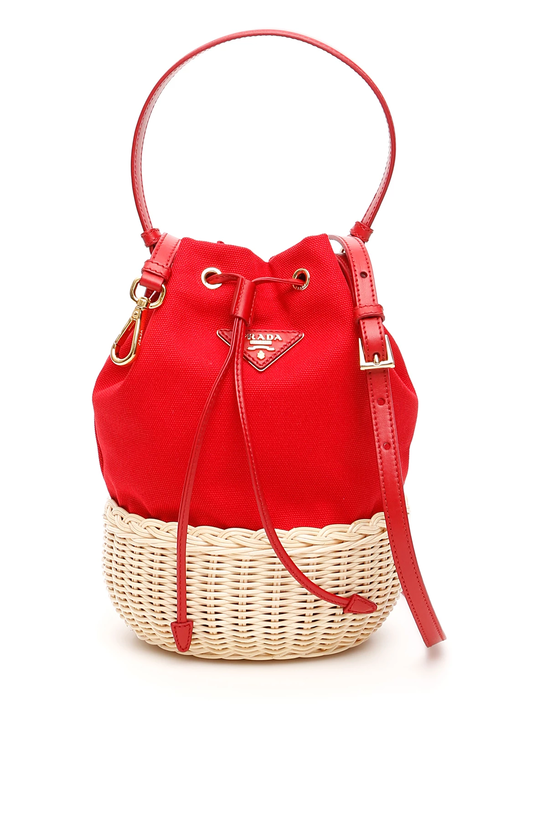 2e3d4ff475da Prada hemp mini bucket bag 1BH115 V OOO 2E28 Naturale Rosso - Authentic