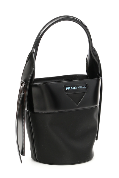 b09ce86bfbfb Prada nylon and leather ouverture bucket bag 1BE015 V OWH 789 Nero ...