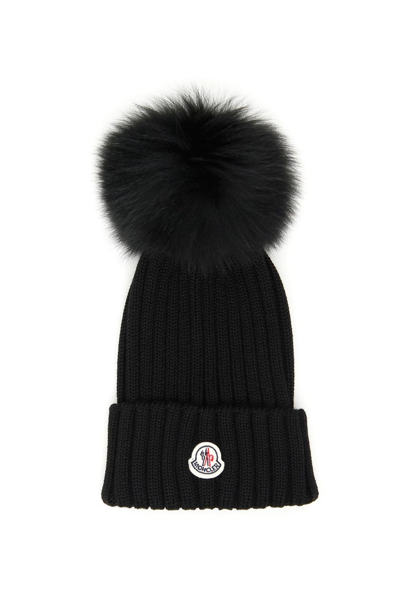 b4bc48fd4 Details about Moncler logo and pom pon beanie 00219 00 3510 Nero - Authentic