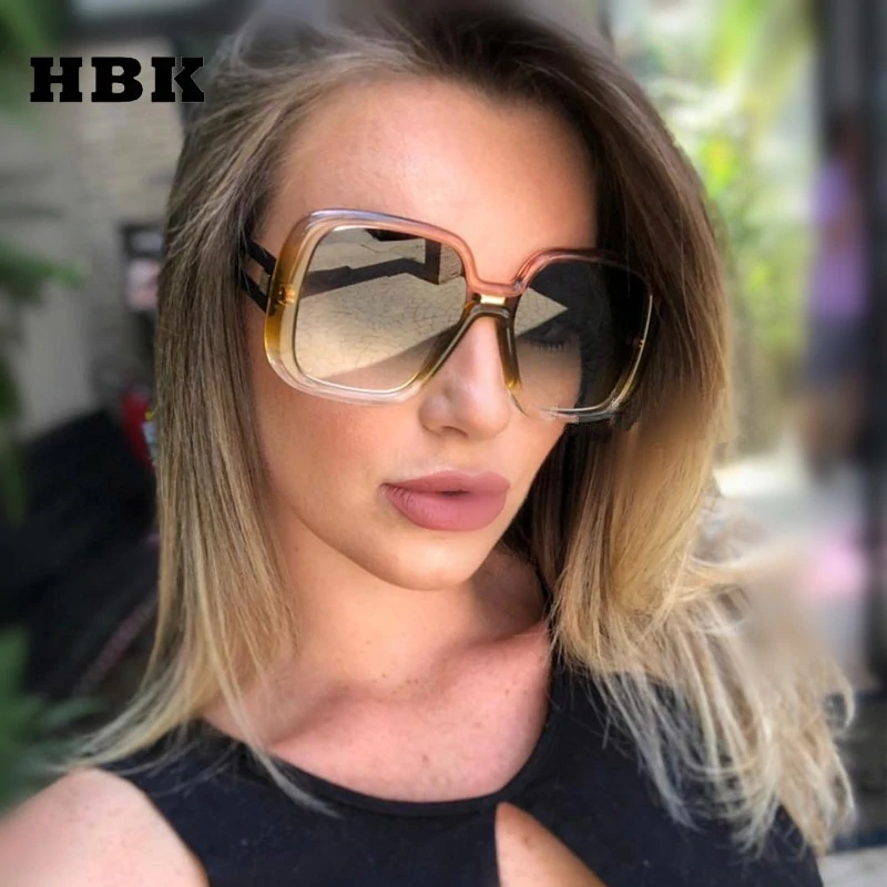 eeefb281742c HBK Women Fashion Big Frame Square Sunglasses 2019 New High Quality ...