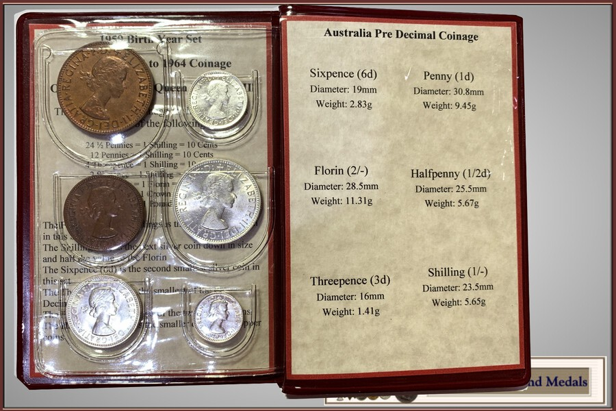 1959 Australian Pre-Decimal coin set – a perfect 60 year birthday gift