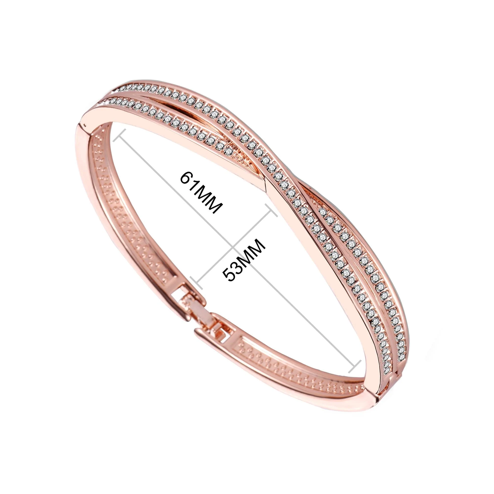 Details zu Rose Gold Crossover Bangle Created with Swarovski® Crystals by Philip Jones