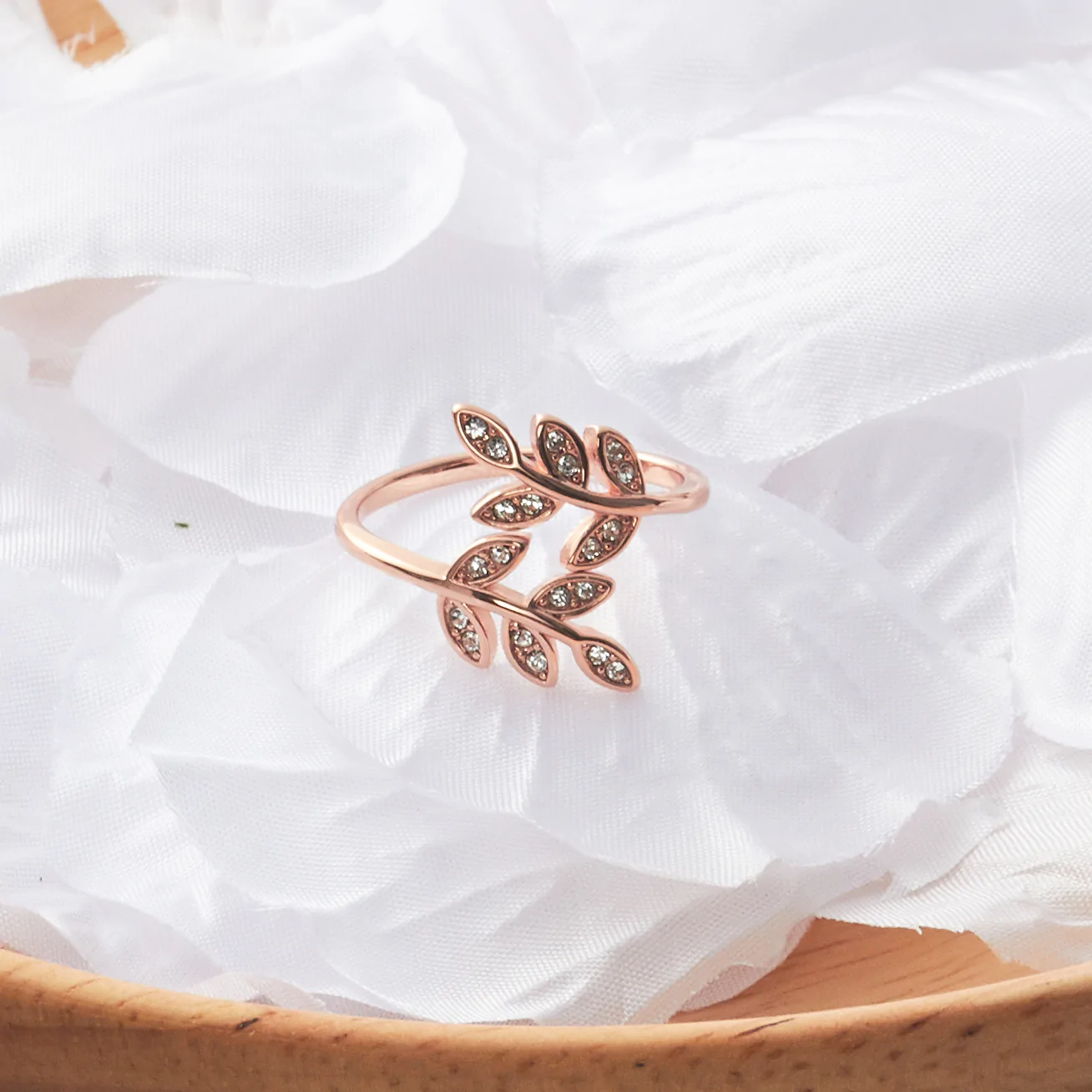 3e6c14a498347 Details about Rose Gold Leaf Ring Created with Swarovski® Crystals