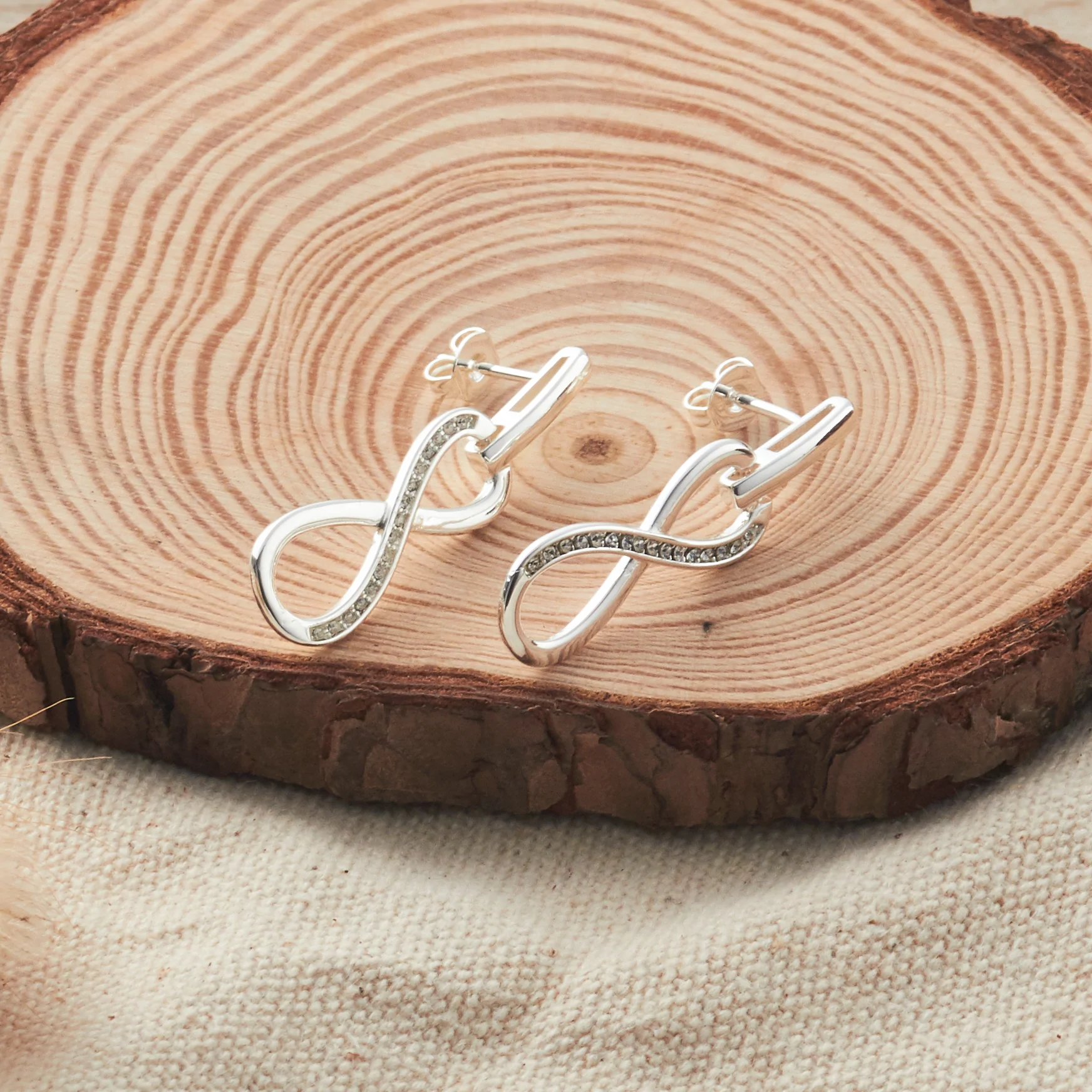 43e92ee58 Silver Infinity Drop Earrings Created with Swarovski® Crystals ...