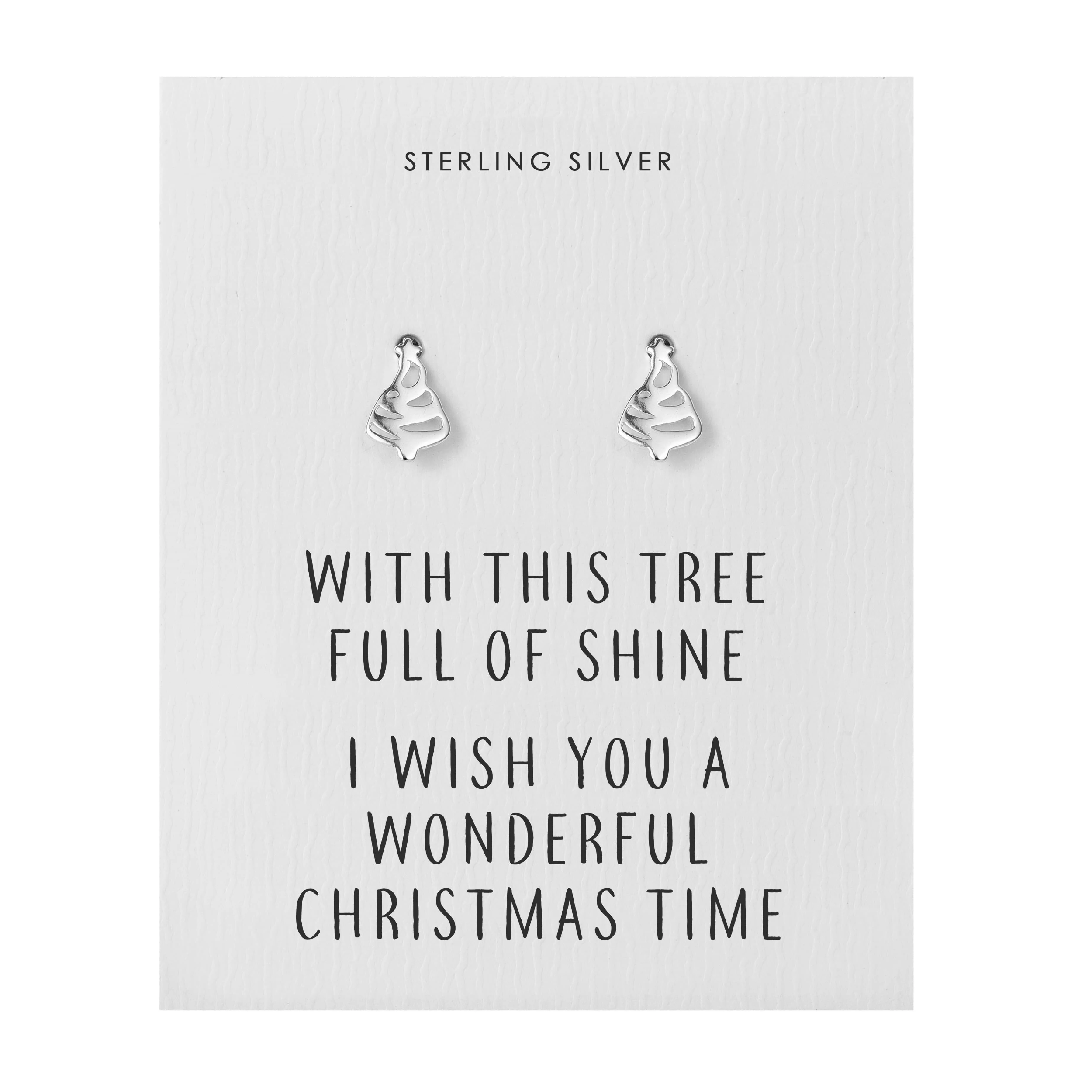 78574112a Sterling Silver Christmas Tree Quote Earrings 5060684825875 | eBay