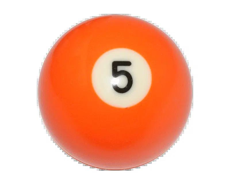 Vintage Bakelite Billiard Ball Number 5 Orange