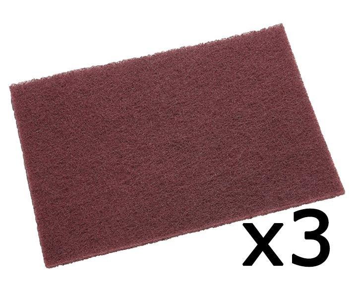 "3M 7447 6/"" x 9/"" Maroon Alum Ox General Purpose Hand Pads 20 Pcs//Pk"