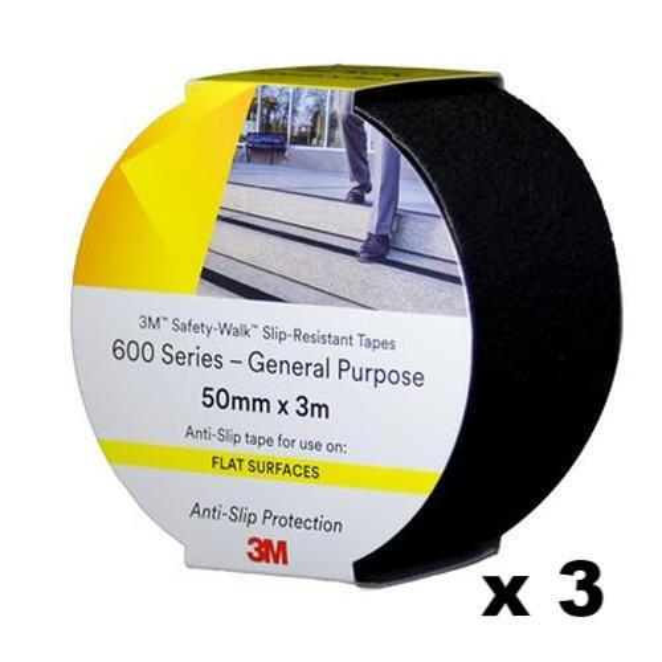 3M Safety Walk Slip Resistant Tape 600 General Purpose Black 50mm x 3m 3 Rolls