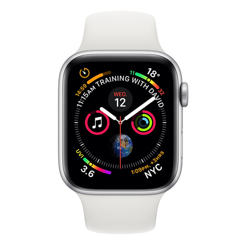 Apple Watch Series 4 44mm Silver Aluminium Case White Sports Band (GPS + Cellular) - [Au Stock]