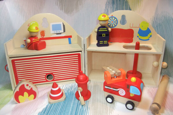 Wooden Fire Station Playset