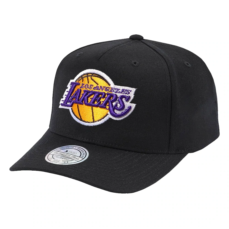 e28688889 Details about Los Angeles Lakers Mitchell & Ness NBA 110 Logo Snapback Hat  - Black