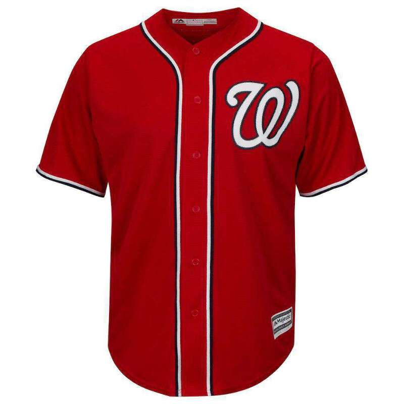new product e32a3 1241c Details about Washington Nationals Majestic MLB AC Cool Base Replica Jersey  - Red
