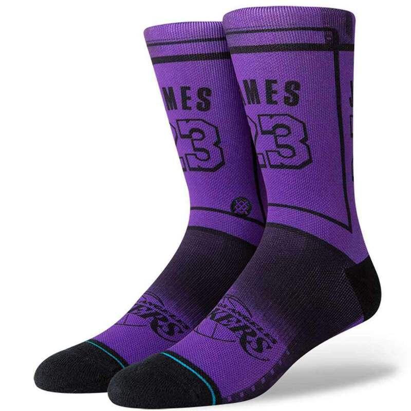 d12a298235a LeBron James Los Angeles Lakers Stance NBA Tonal Jersey Crew Socks - Purple