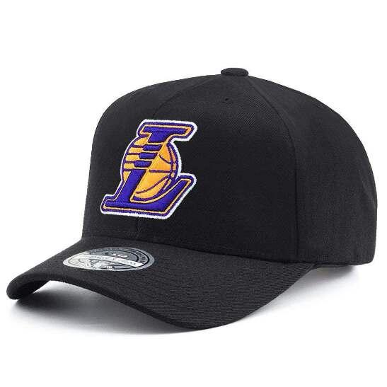 3717f222fc97f Los Angeles Lakers Mitchell   Ness NBA Throwback HWC 110 Curve Snapback Hat