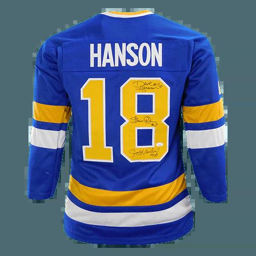 "Steve /& Jeff Carlson Signed Hanson Brothers /""Slap Shot/"" Jersey //JSA Dave Hanson"