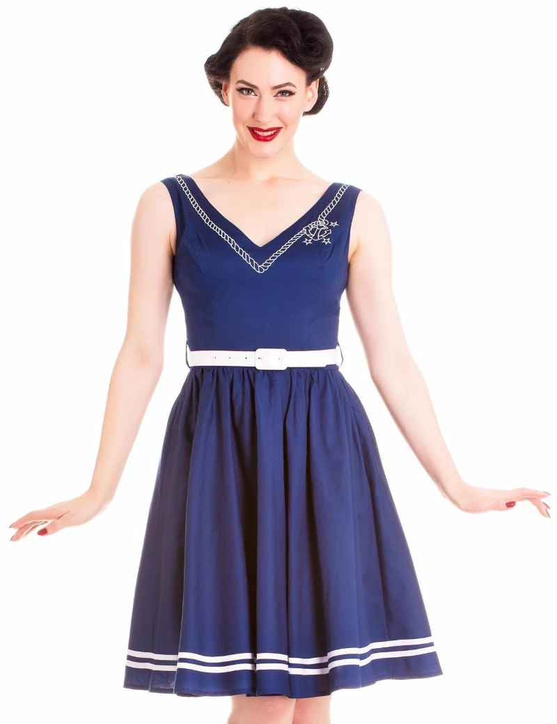 92e6586ada Hell Bunny 50s Style Ariel Sailor Nautical Navy Blue Cotton Dress