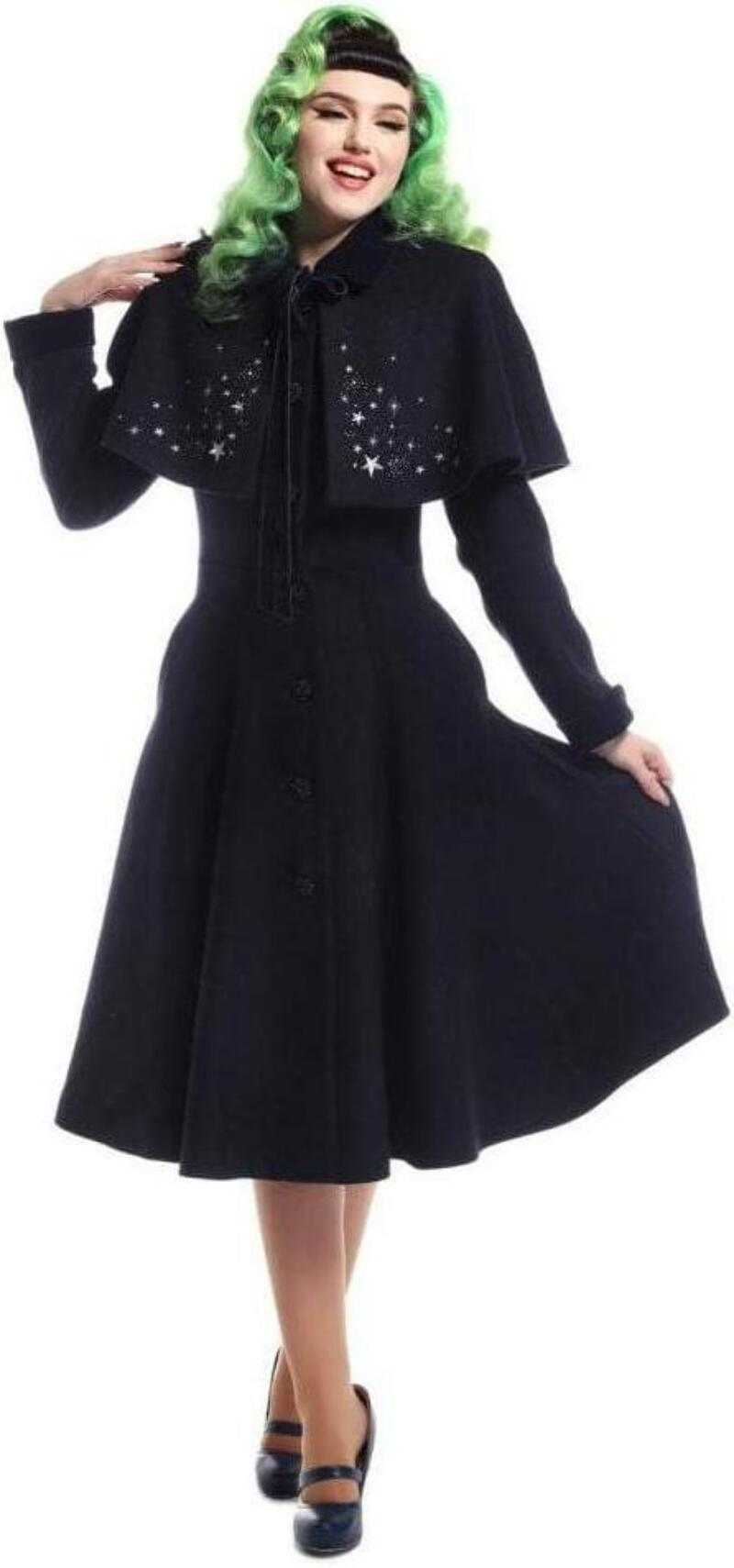 Details zu Collectif 40s 50s Navy Blue Claudia Stars Coat & Cape