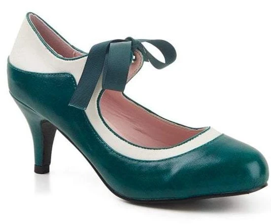 Collectif Jeanie 50s Teal Green High Heeled Shoes