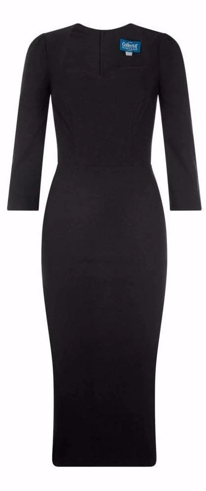 Collectif 40s Style Vanessa Black Pencil Dress with Sleeves