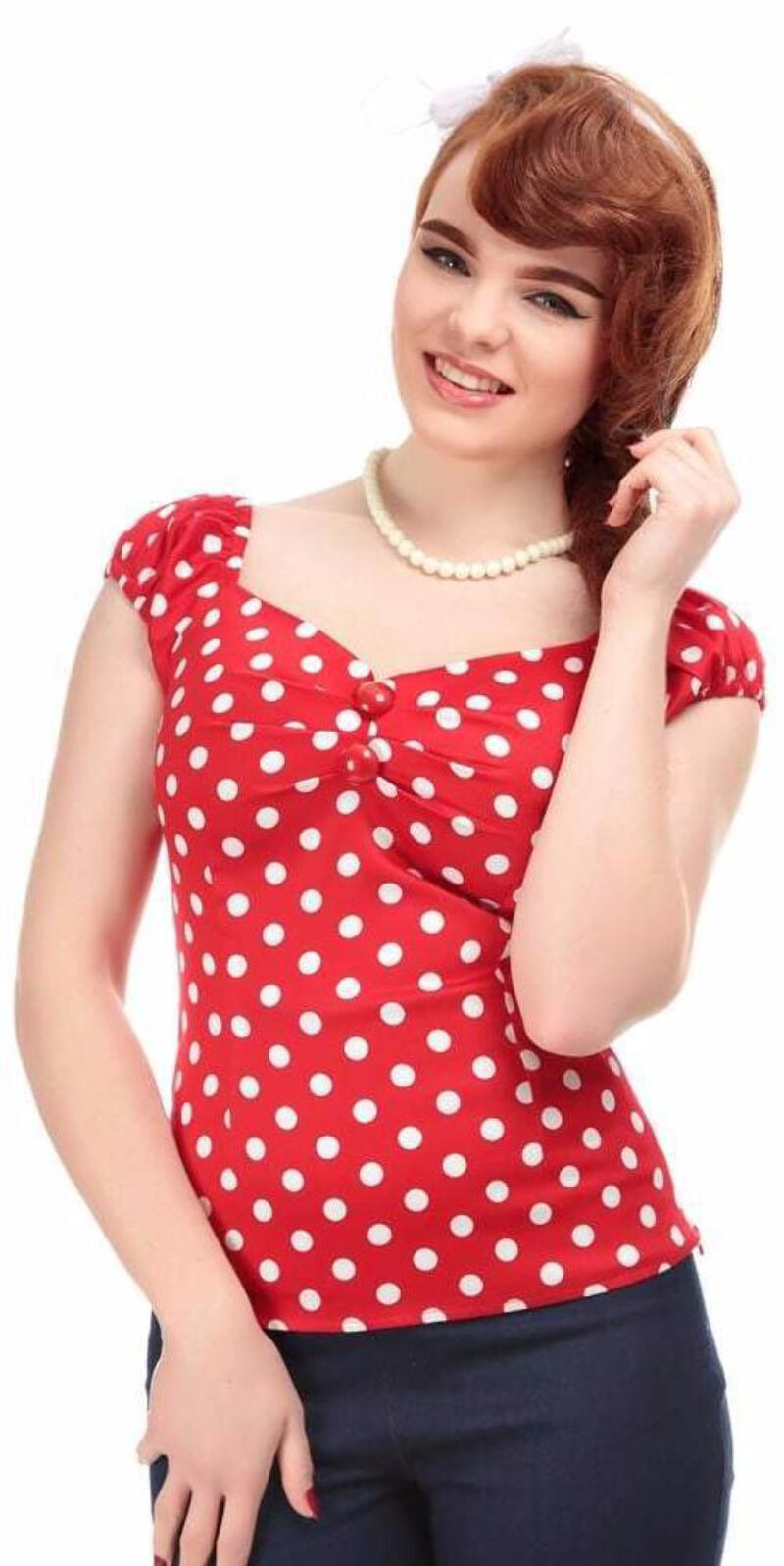 f70814eb8c8aa Collectif Dolores 50s Vintage Style Red and White Polka Dot Gypsy ...