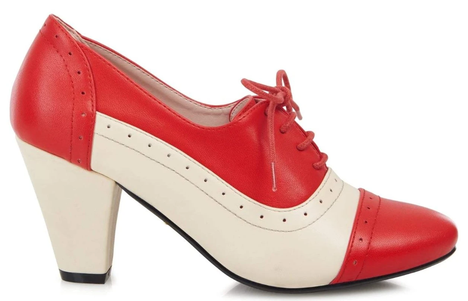 6aa2bb6e242 Collectif Lulu Hun 30s 40s Elizabeth Red and White High Heel Shoes ...