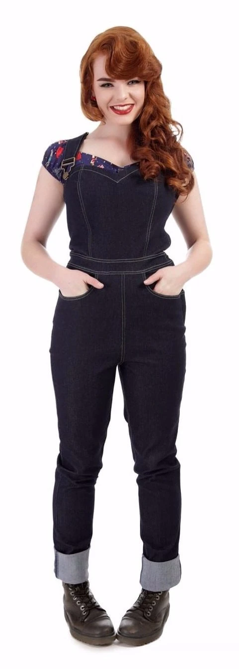 Collectif Denise 50s Style Navy Blue Dungarees Boys' Jeans