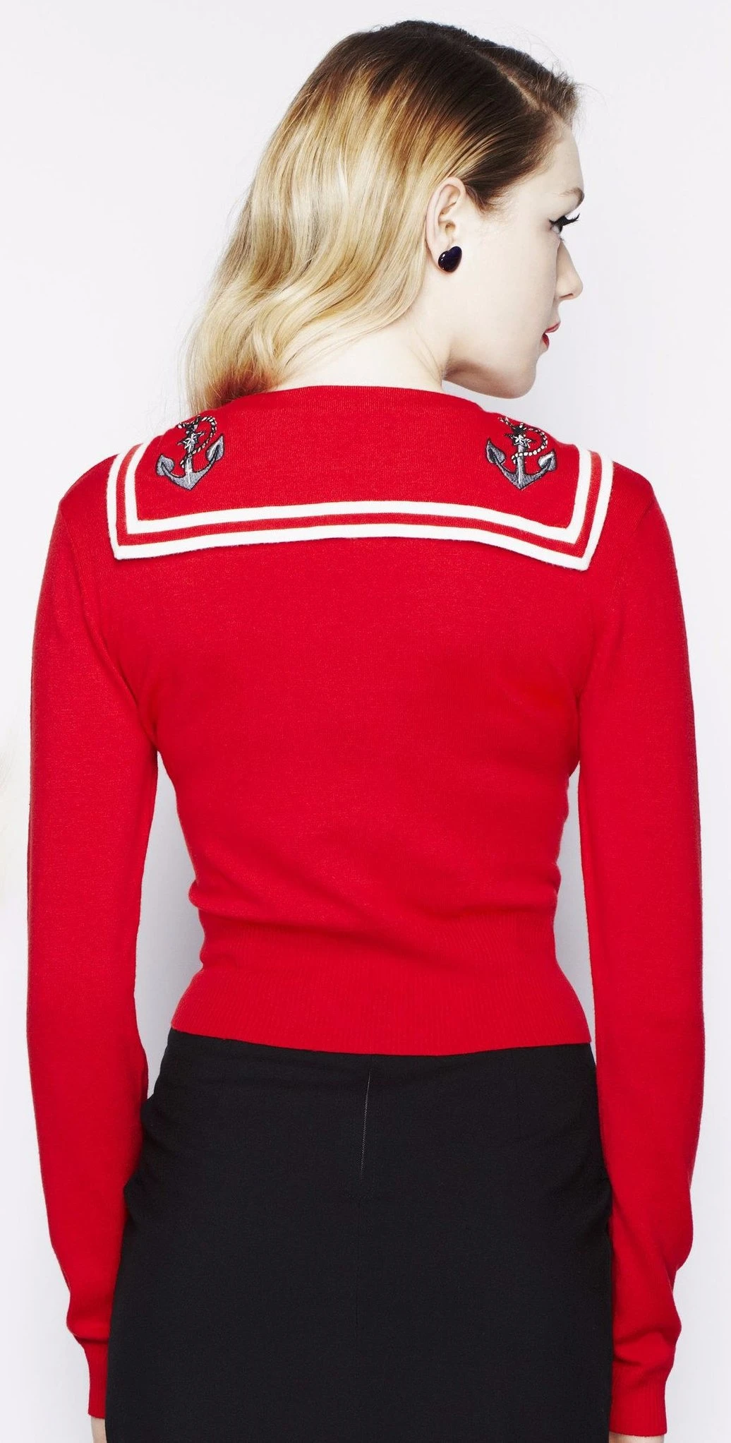 Hell Bunny 40s 50s Landlubber Sailor Red Nautical Cardigan