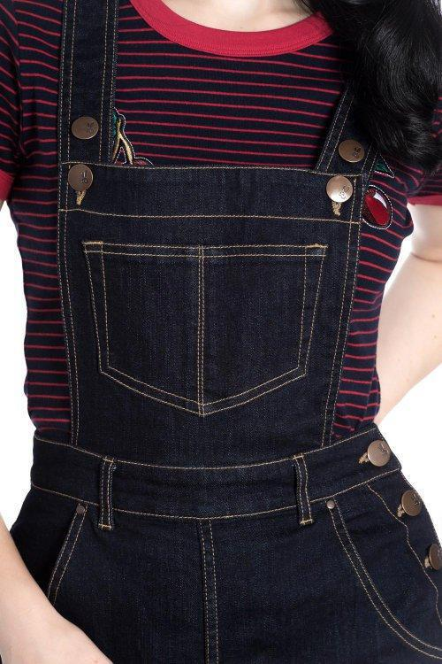 Hell Bunny Elly May 40s 50s Black Denim Dungarees