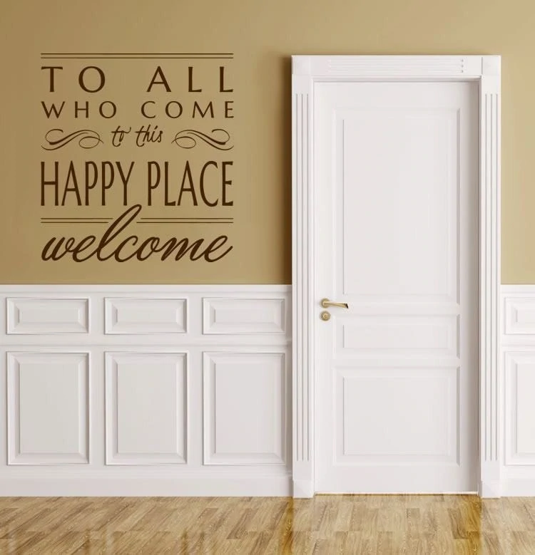 Happy Place Welcome Wall Sticker Wall Chick Decal Art Sticker Quote