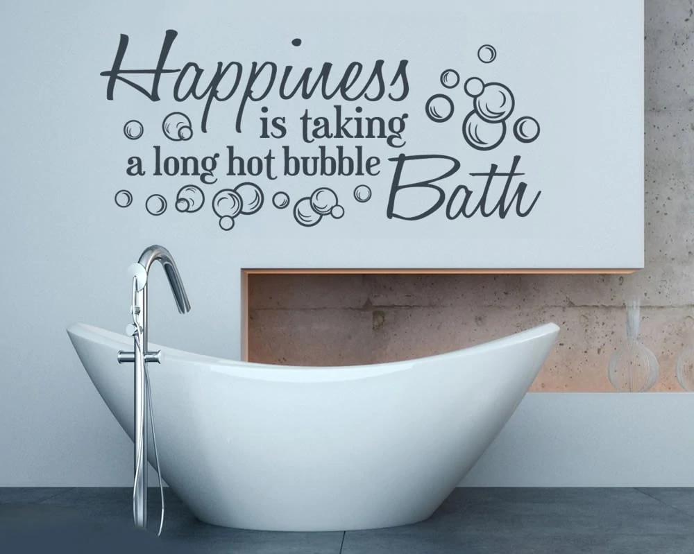 Happiness is Taking a Long Bath Wall Sticker Wall Chick Decal Art Sticker Quote