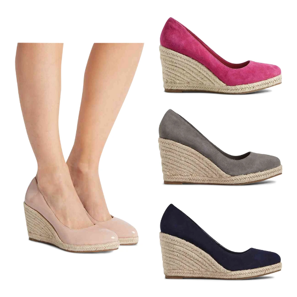 5be850cac93 Details about M&S T024609A/T024609 Suede/Leather Almond Toe Wedge Heel  Espadrilles RRP £45