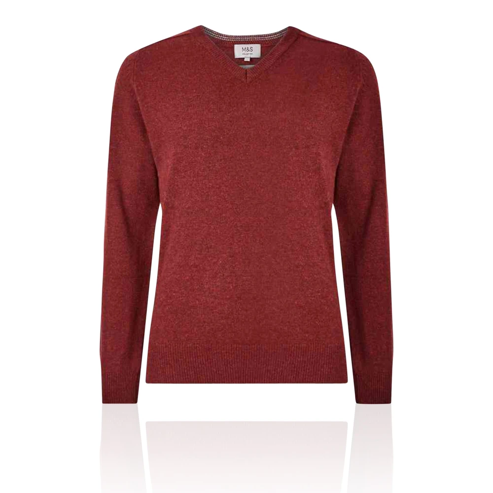 Details about Marks & Spencer T302649M M&S Pure Extra Fine Lambswool V Neck Russet Jumper £35