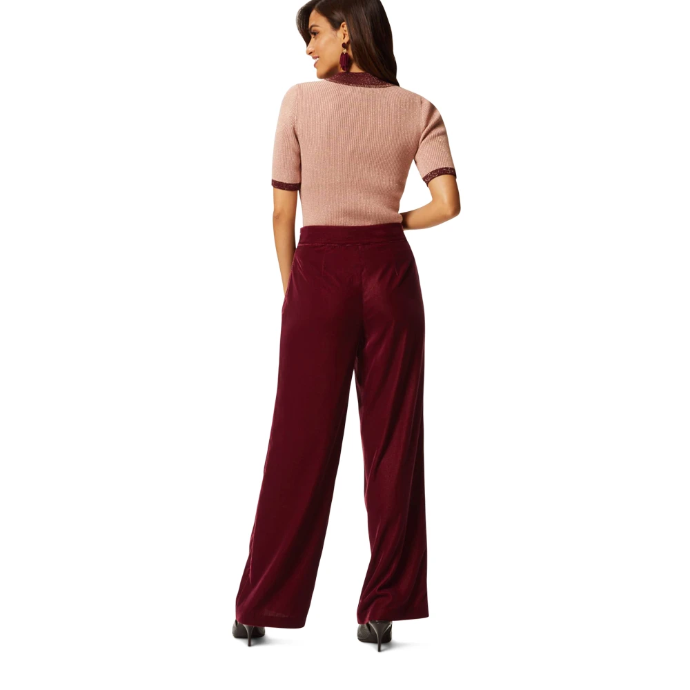 Ex Marks and Spencer Per Una Velvet Wide Leg Pull On Trousers Size 6-24