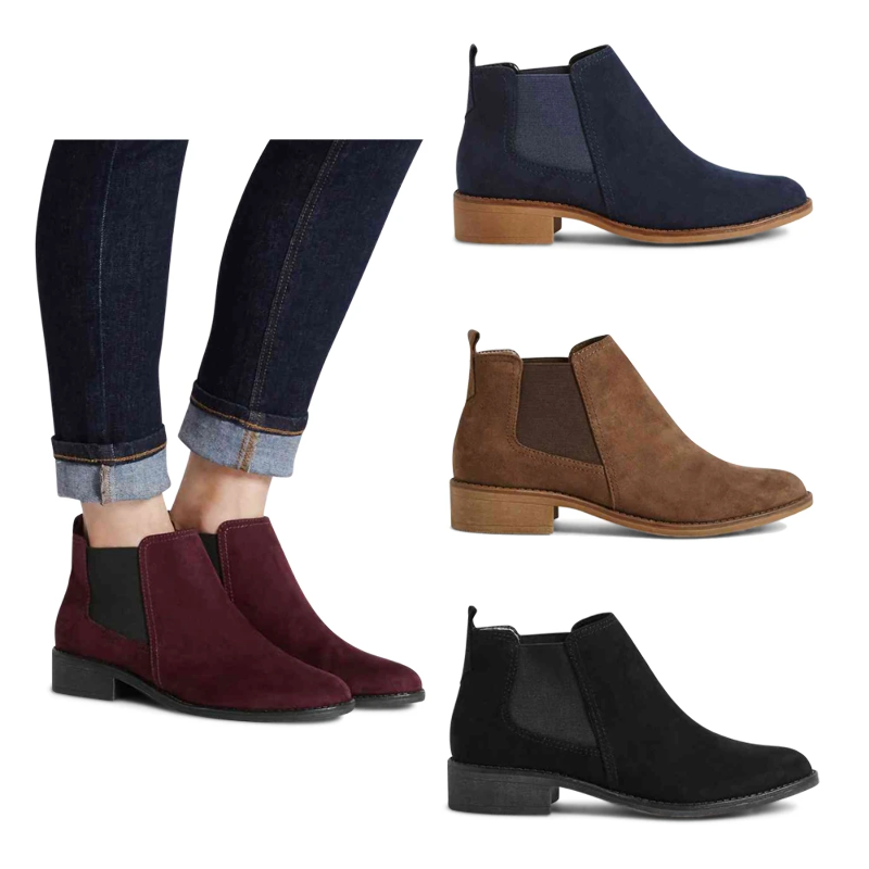 exclusive shoes attractive colour luxuriant in design Details about M&S Block Heel Chelsea Ankle Boots