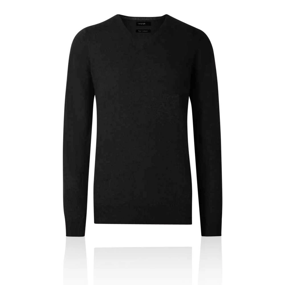 M/&S AUTOGRAPH Gents/' PURE CASHMERE V-Neck JUMPER ~ XL or XXL ~ Black rrp £89