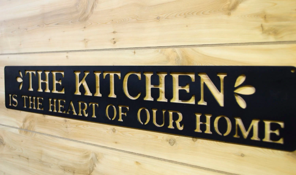 The Kitchen Is Heart Of Our Home Metal Sign Decor Cooking Farmho Ebay