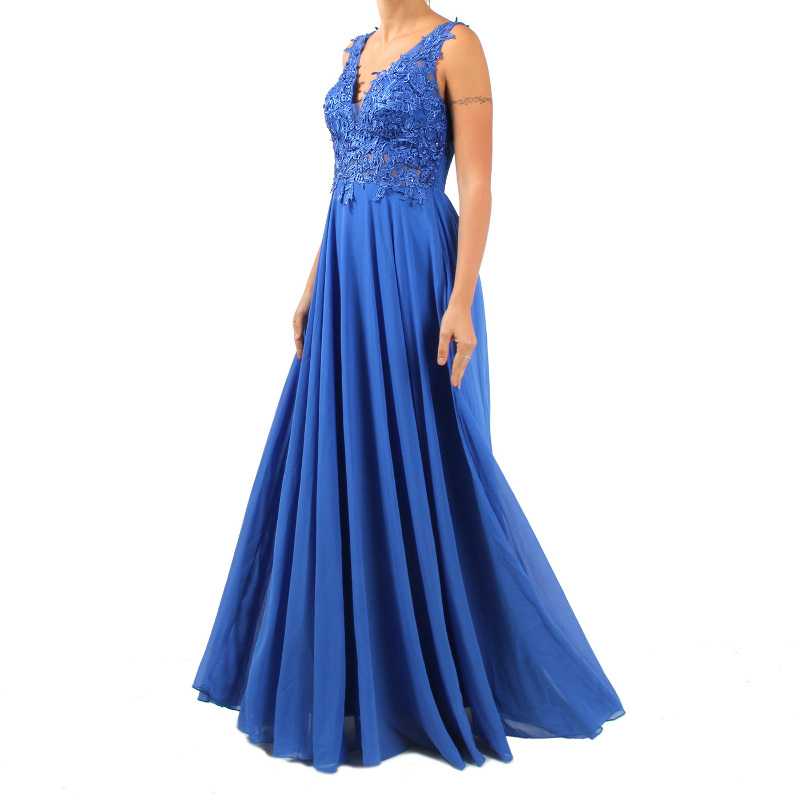huge selection of 25e71 cab7c Dettagli su DADA - Vestito elegante lungo da donna con corpetto decorato -  Blu