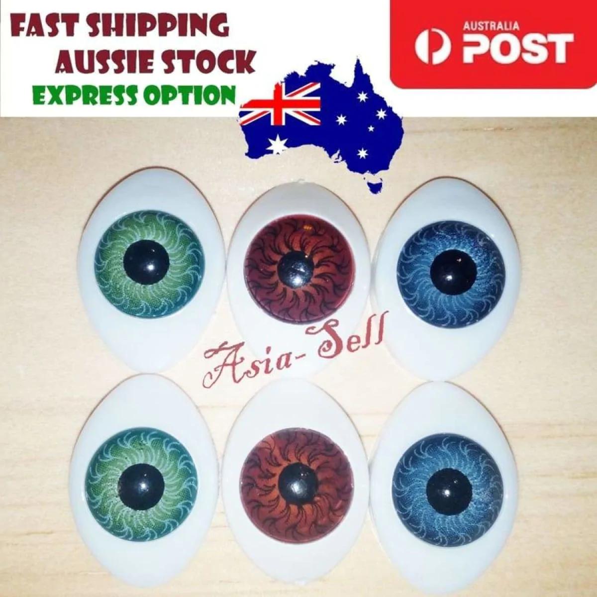 8mm Acrylic Doll Eyes Brown New Plastic Eye 60pc !!