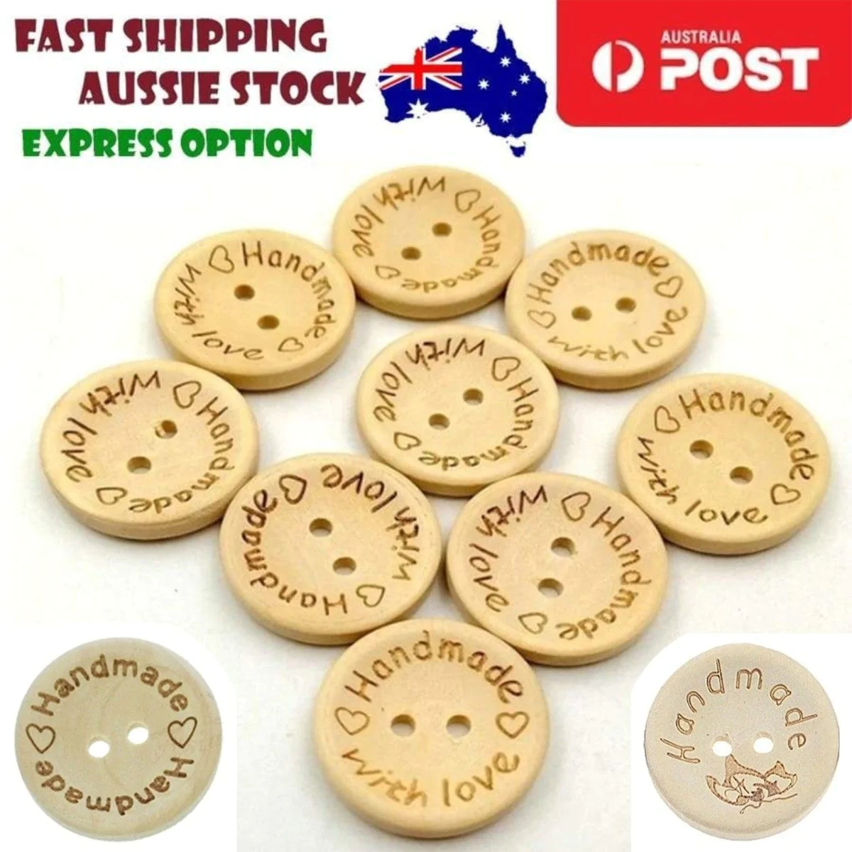 50 Pcs Wooden Buttons Handmade Tags DIY Sewing Craft 2 Holes Flat Buttons