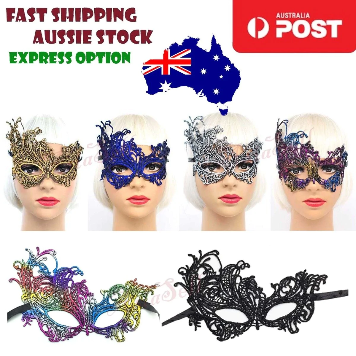 Black Lace Venetian Masquerade Party Mask With Feather Express Post Available