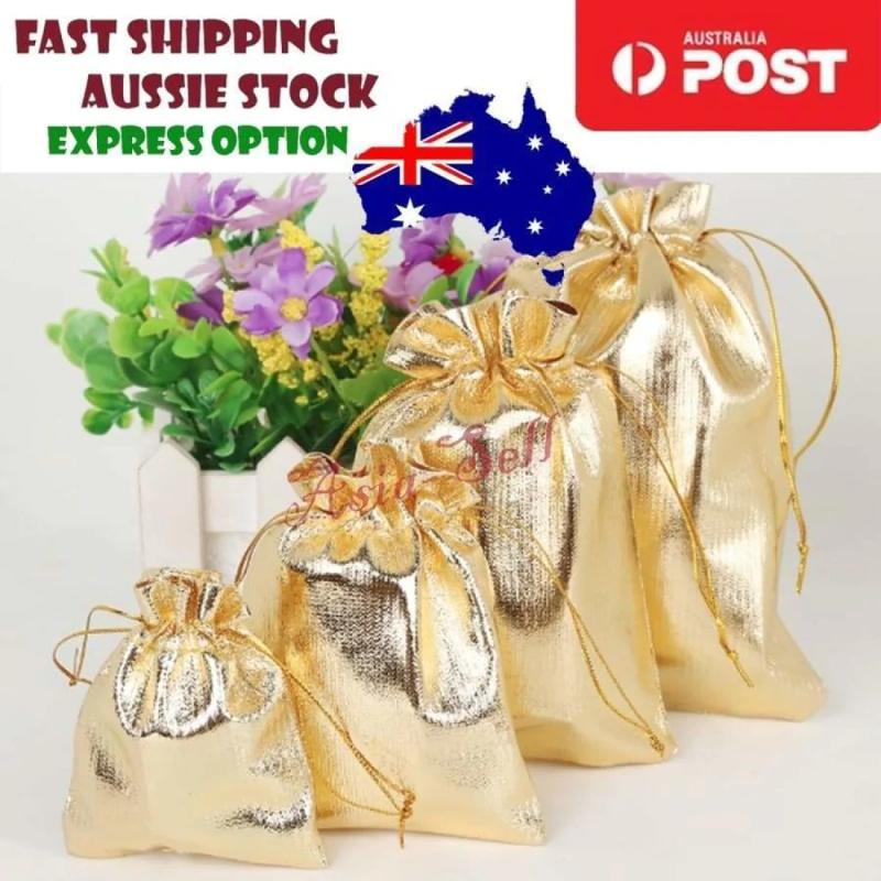 Christmas Gift Bags Australia.2pcs 9x12cm Gold Metallic Foil Pouch Christmas Wedding Gift