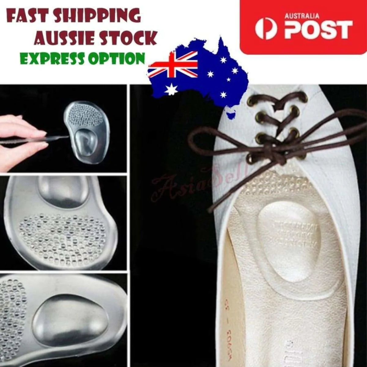 1Pair Silicone Soft Gel Ball Foot Cushion Insole Support Insert Pad Shoes
