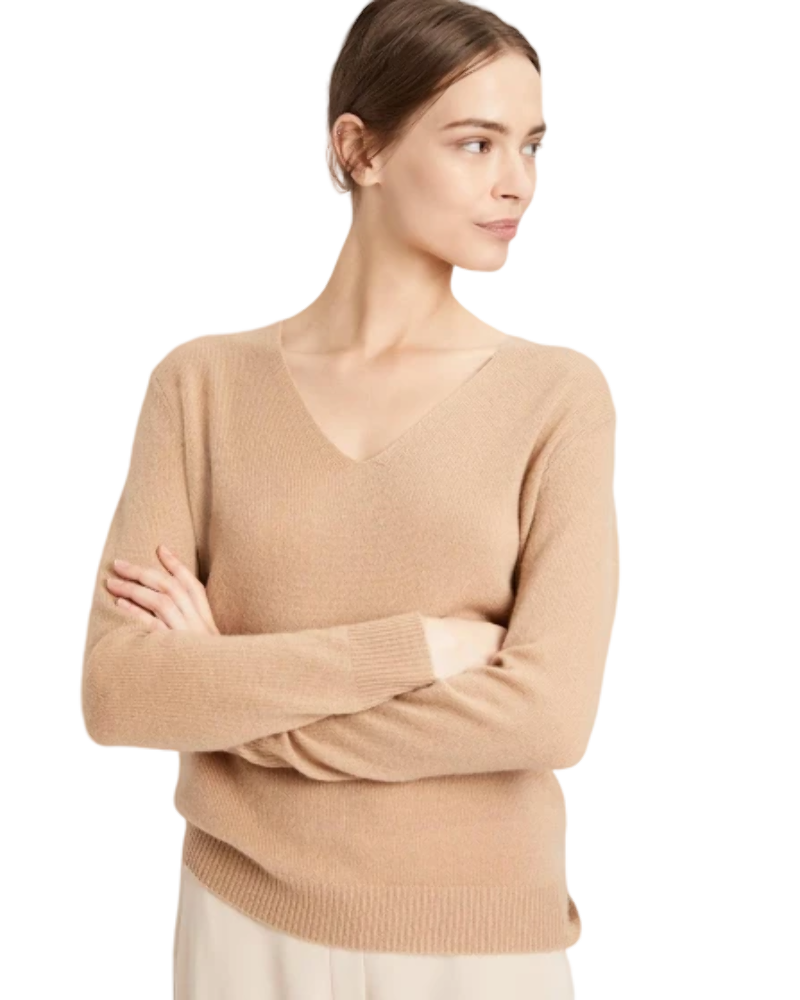 NWT Theory Adrianna Cashmere V-Neck Sweater Pale Melon Pink SIZE S