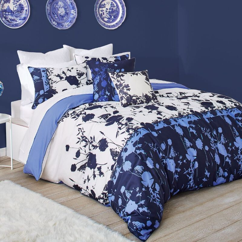 Ted Baker Bluebell 3 Piece Blue Floral Duvet 108 x 96 Cotton Cover